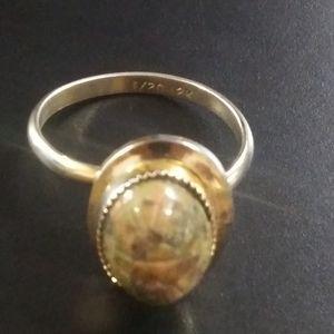 Vintage 1/20 12k gold carved Ocean jasper ring